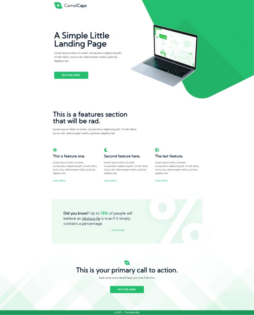 Landing Page Designed in  Elementor