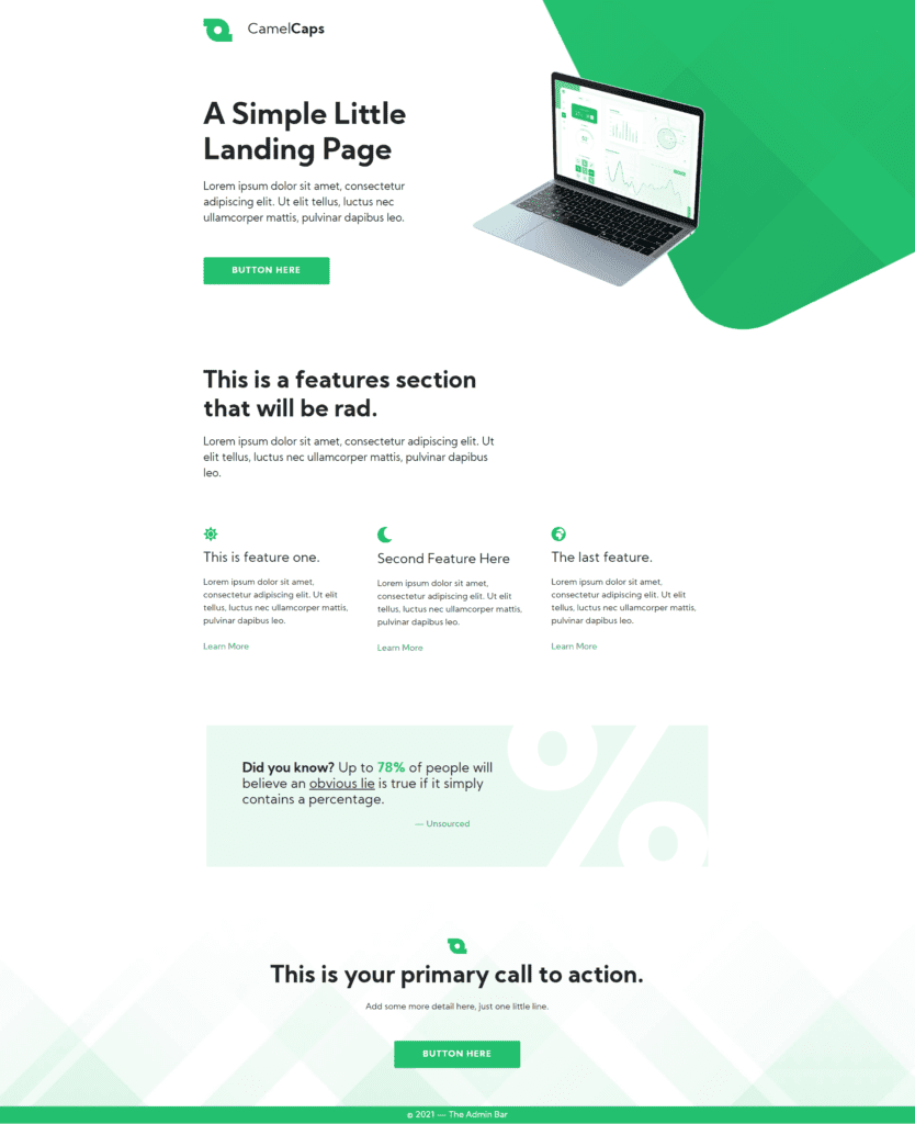 Landing Page Designed with Gutenberg and GenerateBlocks